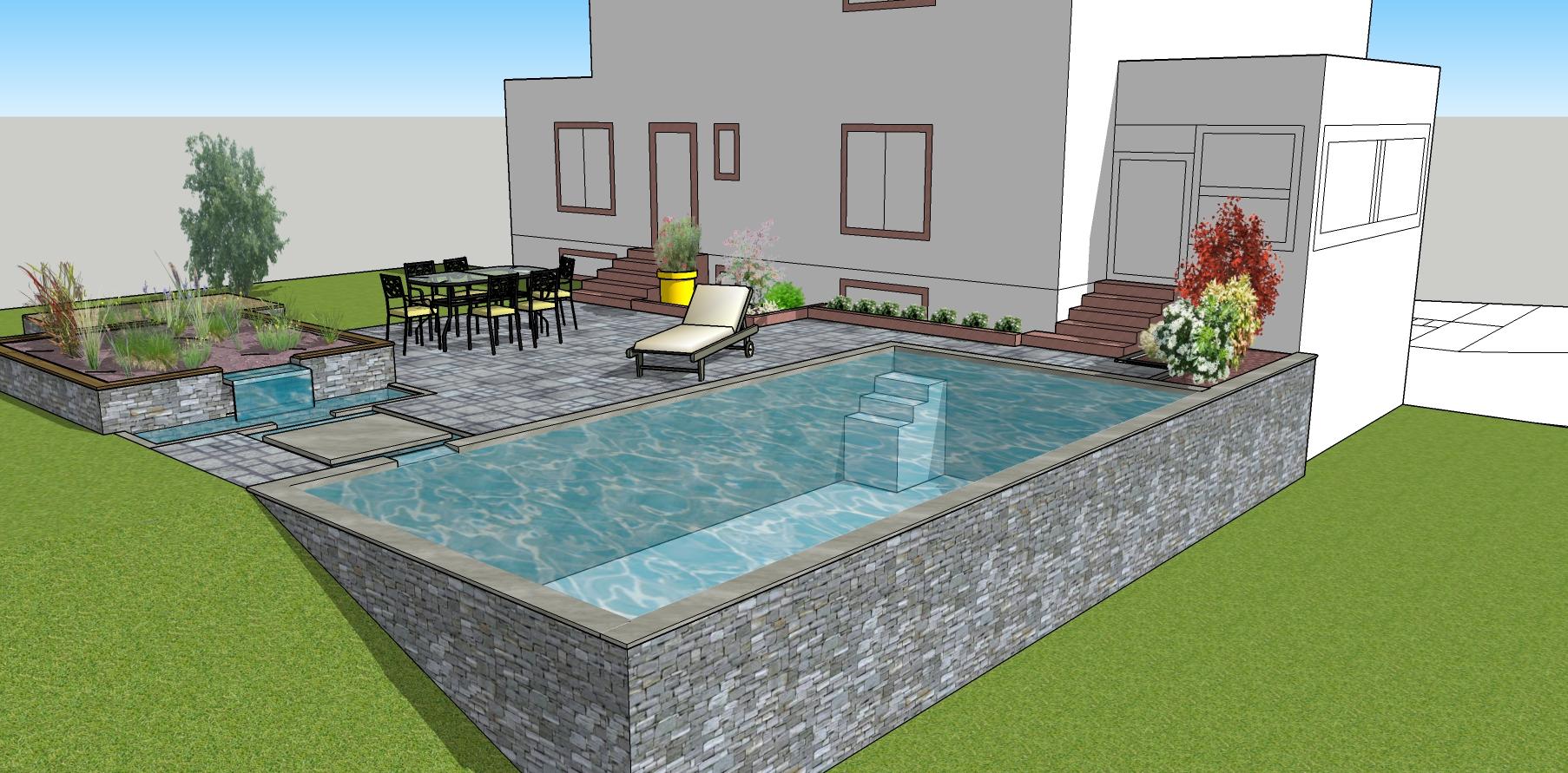 Projet de bassin de baignade en Alsace.